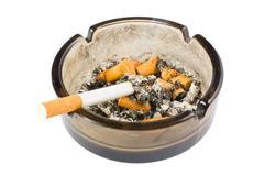 ashtray on white background - stock photo
