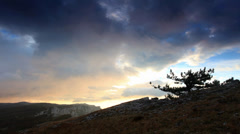 Timelapse sunrise in the mountains Ai-Petri.  - stock footage