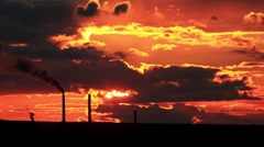 Factory pipe polluting air at sunset. environmental Problems Stock Footage