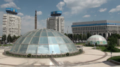 Glass yurts, symbolic, Republic Square, Almaty, Kazakhstan, Central Asia Stock Footage