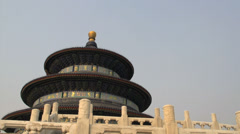 Pan tilt down to the stairs of the Temple of Heaven Stock Footage