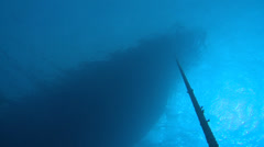 Big boat silhouette from underwater - two footage Stock Footage