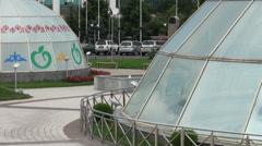 Glass yurts in downtown Almaty, Kazakhstan Stock Footage