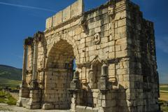 North side of the arch of caracalla at volubilis Stock Photos