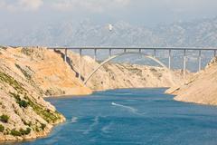Maslenica strait of the adriatic sea, north of zadar, croatia Stock Photos