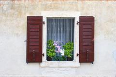 window with flowers, dalmatia, croatia - stock photo