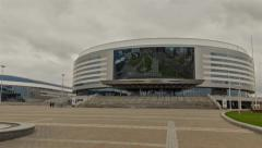 Sport complex Minsk arena . Time lapse shot in motion Stock Footage