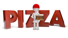 pizza deliver - stock illustration