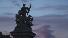Seagull perched on Roman statues, sunset 2 Stock Footage