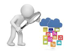 analyzing apps uploading to the cloud - stock illustration