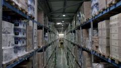 Large warehouse logistics terminal - stock footage