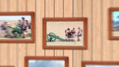 Photoframes on wooden wall Stock After Effects