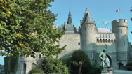 Stock Video Footage of The Steen Castle in Antwerp, Belgium