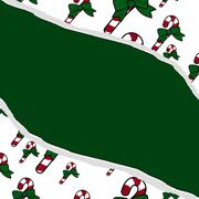 Red and green candy cane christmas torn background for your message or invita Stock Illustration