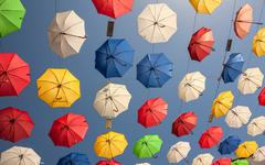 Multicolored Umbrellas - stock photo