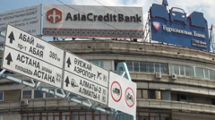 'Asia Credit Bank' billboard and traffic signs in Almaty, Kazakhstan Stock Footage