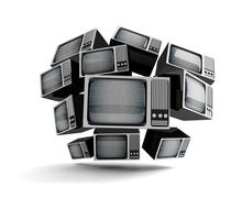 retro tv with static. - stock illustration