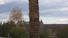 Oroqen totem pole pan up Stock Footage