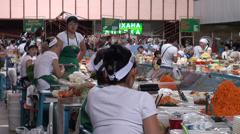 Almaty bazaar, women selling pickled vegetables at Kazakhstan market Stock Footage