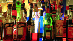 Bottles of alcohol Stock Footage
