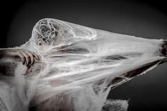Stock Photo of arachnids creepy, naked man caught in spider web