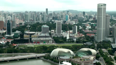 Singapore 043 Esplanade Theatres and cityscape from above Stock Footage