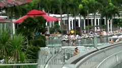 Singapore 047 Swimming Pool at the Rooftop of Marina Bay Sands Skypark Hotel Stock Footage