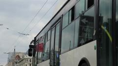 Windows Reflections on Trolleybus Stock Footage