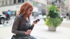Latin Hispanic Asian woman talking on cellphone iPhone Stock Footage