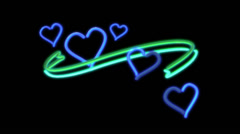 Neon lights heart color blue Stock Footage