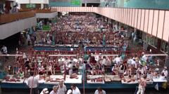 Meat section in Almaty bazaar, Kazakhstan Stock Footage