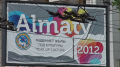 Billboard 'Almaty 2012', electric wires Stock Footage
