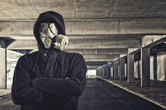 Man with gas mask Stock Photos