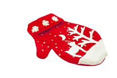 knitted woolen mitten with christmas decoration - stock photo