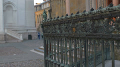 Bergamo bronze gate with people Stock Footage