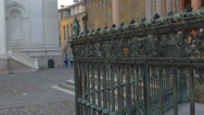 Stock Video Footage of Bergamo bronze gate with people