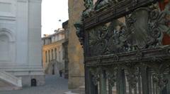 Bergamo Bronze gate Santa Maria Magiorre church Stock Footage