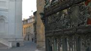 Stock Video Footage of Bergamo Bronze gate Santa Maria Magiorre church