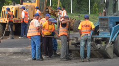Stock Video Footage of Road construction in Almaty, Kazakhstan, fast changing country in Central Asia