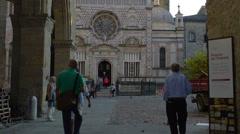 Bergamo Cita Alta Santa Maria Maggiore church tourists Stock Footage