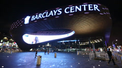 Barclays Center at night - stock footage