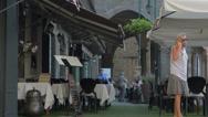Stock Video Footage of Bergamo Cita Alta street restaurant editorial