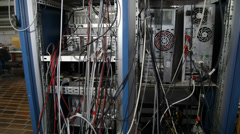 Cable jumble in nuclear lab - stock footage