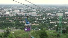 Cable car over Almaty city, Kazakhstan Stock Footage