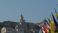 Stock Video Footage of Bergamo Italy Citta Alta national flags