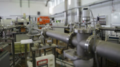 Ion accelerator lab interior tilt shift lens - stock footage