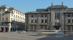 Bergamo Piazza della Liberta street traffic Stock Footage