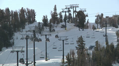 Ski Resort Chair Lifts Winter Outdoors Recreation Snow Fun Excitement Motion Stock Footage