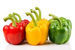 Red, yellow, green pepper Stock Photos