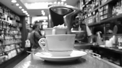 Rome cafe, black & white (zoom out) Stock Footage
